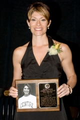 The author with her plaque in the Centre College Athletic Hall of Fame.