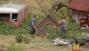 American Pickers finding a fireplace surround.