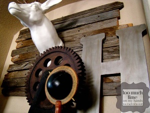 Wall detail in rustic industrial style from TooMuchTime.com.