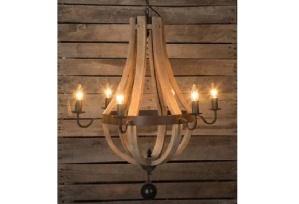 Wine barrel style chandelier at www.antiquefarmhouse.com.
